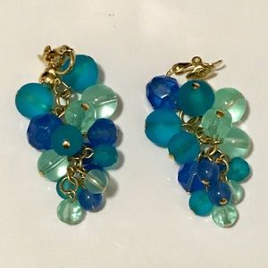 Vintage Trifari Cascade Beads Clip On Earrings